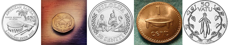 Coins depicting kava and kava tanoas